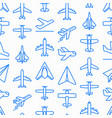 airplane seamless pattern with thin line icons vector image vector image