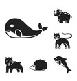an unrealistic animal black icons in set vector image vector image