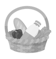 Basket with products icon in monochrome style vector image vector image