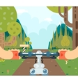 Bicycle Steering Wheel Riding Forest Tourism and vector image vector image