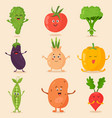 big bright set funny cartoon vegetables vector image