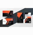 black and orange modern business card geometric vector image vector image