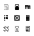 black calculator icon set vector image