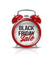 black friday inscription on realistic red alarm vector image vector image