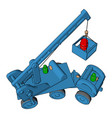 blue construction vehicles toy on white vector image vector image