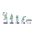 businessman energy level timeline from happy vector image