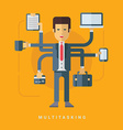 Businessman with Many Hands Doing Many Tasks vector image vector image