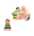 cartoon girl boy reading book sitting book vector image vector image
