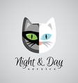 Cat face logo template Dark gray and white color vector image vector image