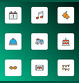 christmas icons colored line set with cake vector image vector image