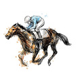 Colored hand drawing a rider with a horse vector image vector image