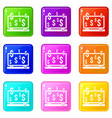 computer monitor and dollar signs icons 9 set vector image vector image