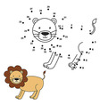Connect the dots to draw the cute lion and color i vector image vector image