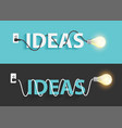 creative light bulb ideas text design vector image vector image