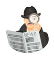 detective in hat with mustaches holds newspaper vector image vector image