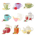 different tea soft brand drinks glasses and teapot vector image