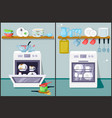dirty and clean dishes flat vector image