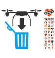 drone drop trash icon with lovely bonus vector image vector image