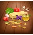 Dry Pasta pasta realistic composition Poster vector image