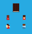 flat icon bitter set of chocolate dessert shaped vector image vector image
