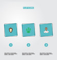 flat icons snake lion monster and other vector image