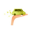 flat man hand palm with green car vehicle vector image vector image