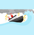 flat scene with ship in strong lightning vector image