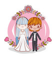 girl and boy couple marriage with flowers vector image vector image