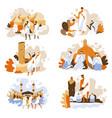 hajj rituals isolated icons muslim people vector image