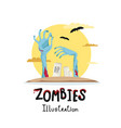 halloween poster with zombies hands in graveyard vector image vector image
