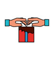 hands holding gift box online shopping vector image