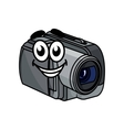 Happy gray cartoon video camera vector image