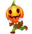 happy kid wearing pumpkin costume vector image vector image