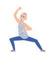 happy older dancing man cartoon senior age person vector image vector image