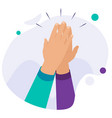 high five concept for success teamwork hands in vector image vector image