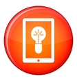 Idea lamp on gadget screen icon flat style vector image vector image