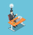 isometric businessman sitting on his desk and got vector image vector image