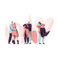 love couple character hug on valentine dating set vector image vector image