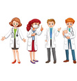 Male and female doctors in uniform vector image vector image