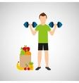 man barbell lift exercising bag health food vector image
