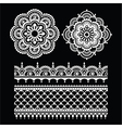 Mehndi Indian Henna tattoo white seamless pattern vector image vector image
