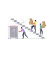 movers carring a cupboard and cardboard boxes vector image vector image