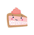piece cake flat cute vector image