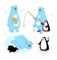polar bear and penguin - flat design style vector image