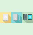 power bank icon set flat style vector image