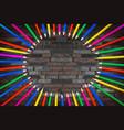 rainbow color pencils circle vector image vector image
