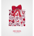 Retro Christmas present composition file vector image vector image