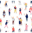 seamless pattern with crowd people using vector image vector image