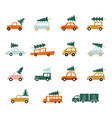 set cars in a flat style a car with a tree on vector image