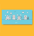 set of buildings in flat linear style in black and vector image vector image